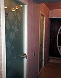 Одностворчатая матовая стеклянная дверь с пескоструйным рисунком в деревянной коробке 02