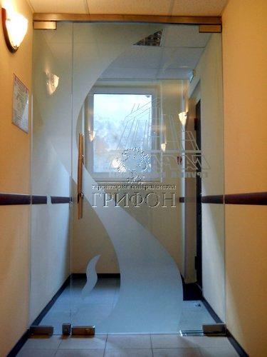 Стеклянная распашная дверь с пескоструйным рисунком (Нижний Новгород) 01