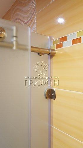 Угловая душевая перегородка из матового стекла matelux с раздвижной дверью (Нижний Новгород) 08